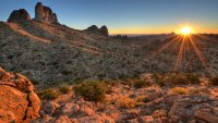 Castle Peaks Sunrise Mojave National Preserv