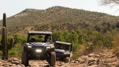 UTV riding in the desert off-road