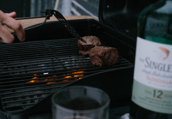 filet mignon steak with scotch butter grilled steam cooking