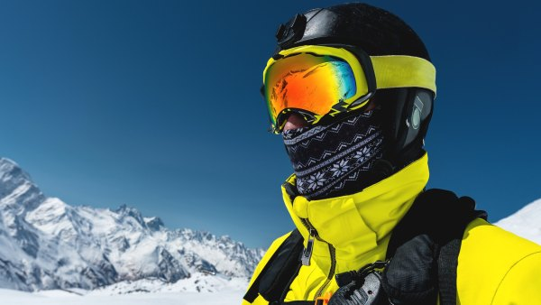 skier in face mask