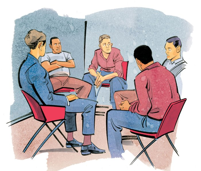 Illustration of men in group therapy