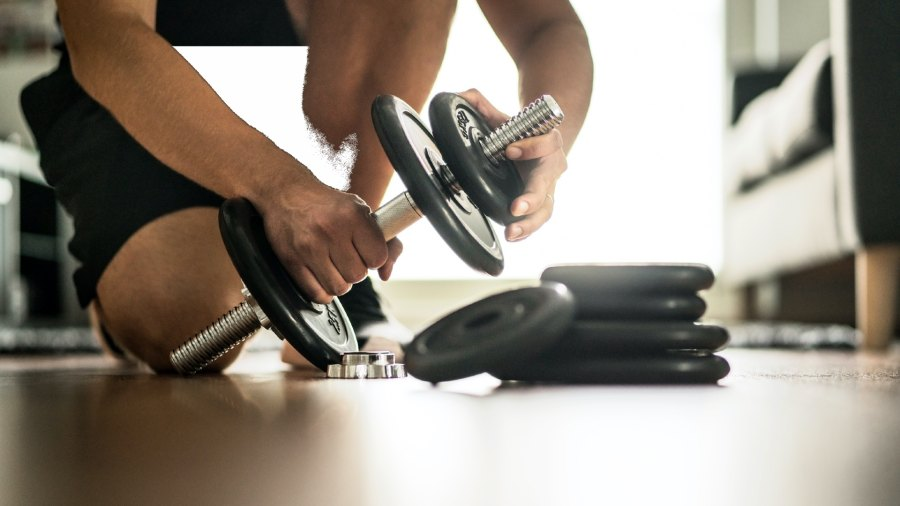 Home workout with dumbbell