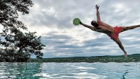 Matthew McConaughey jumping into swimming pool while catching a frisbee