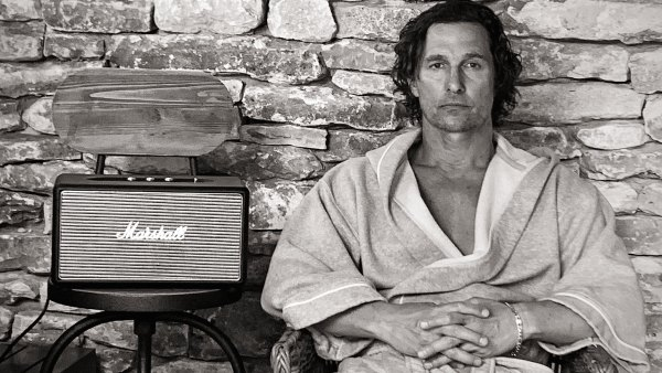 Black and white portrait of Matthew McConaughey next to Marshall speaker
