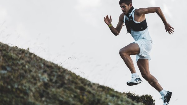 Athlete Mathis Dumas trail running in The North Face's new VECTIV Flight shoes