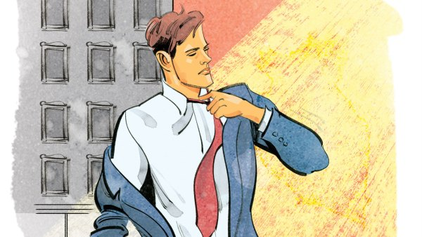Illustration of businessman loosening tie