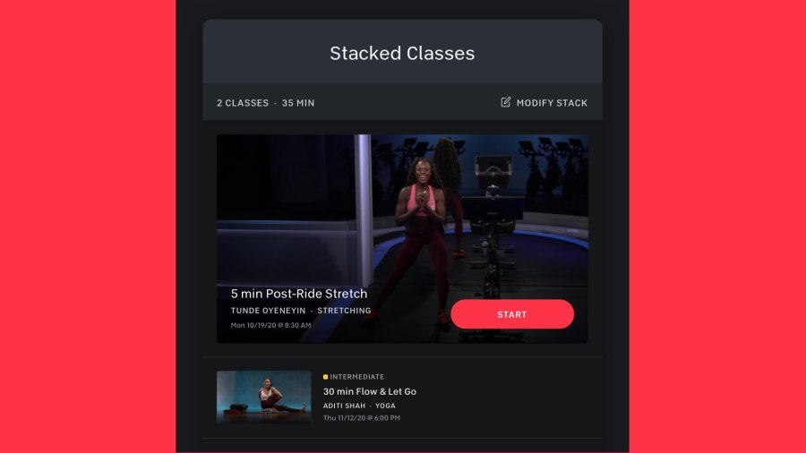Peloton's new Stacked Classes feature