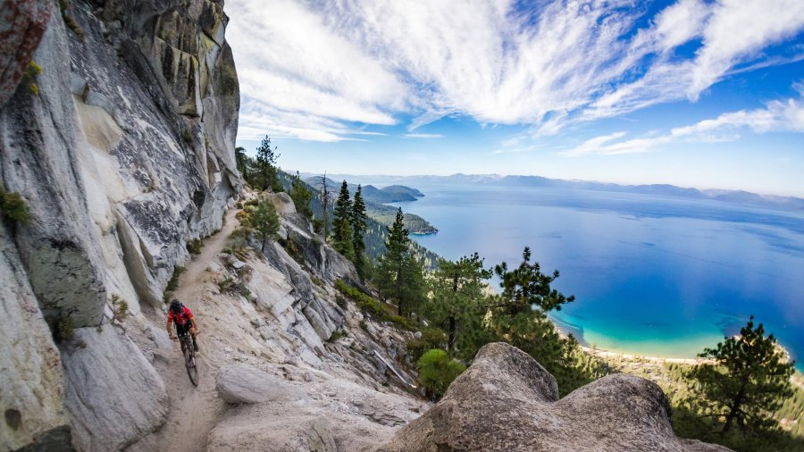 Mountain biker on the Flume Trail at Lake Tahoe, CA