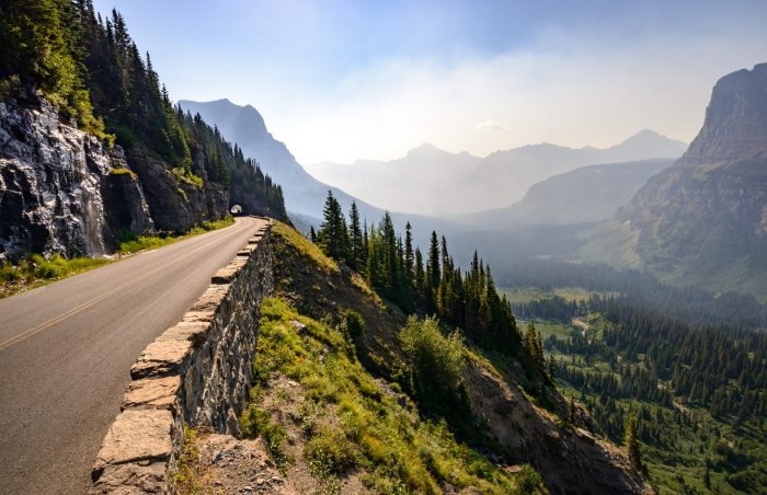 scenic road Valley View, Glacier National Park