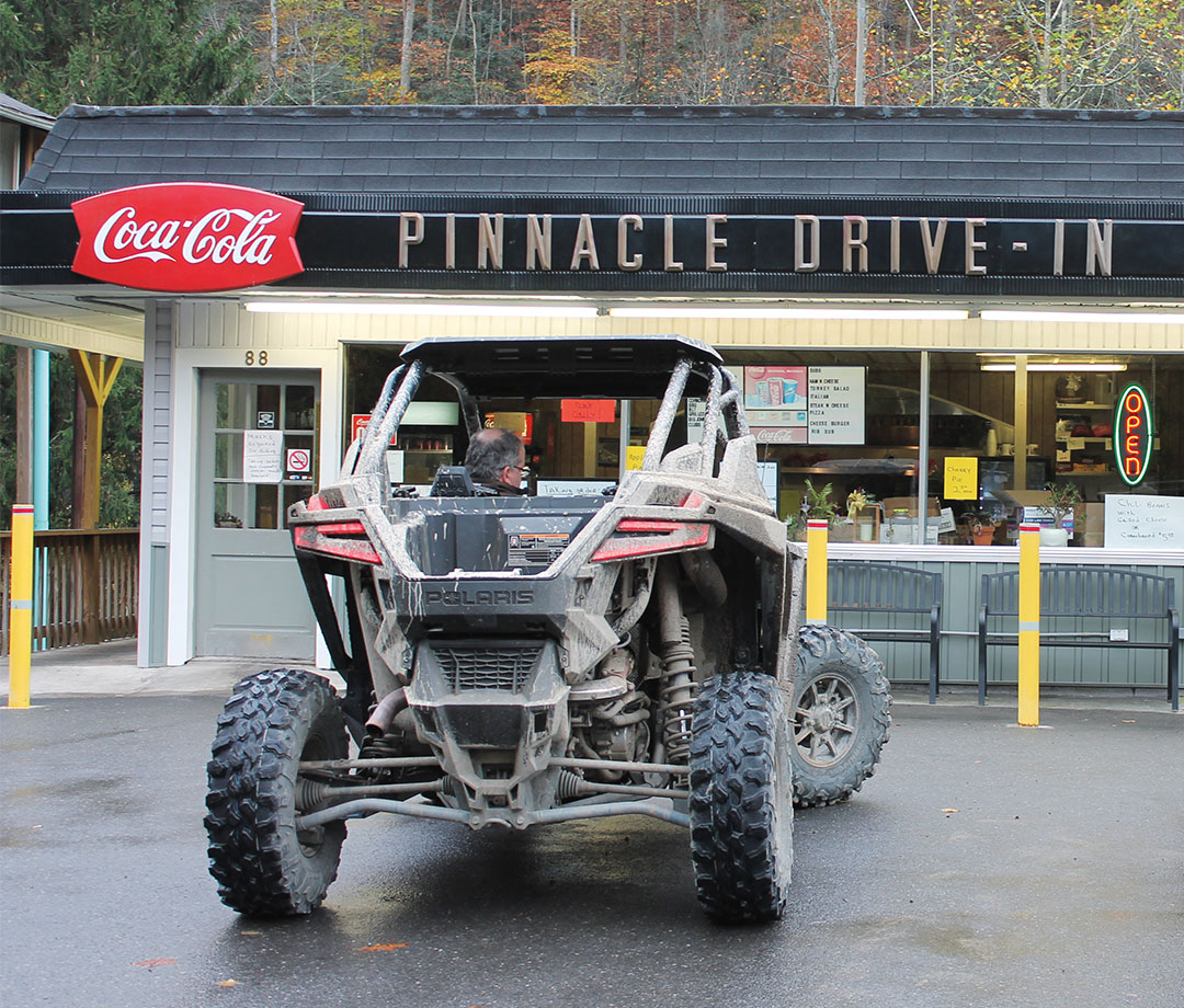 UTVs are welcome in towns along the Hatfield-McCoy Trails, making for plenty of muddy lunch runs.