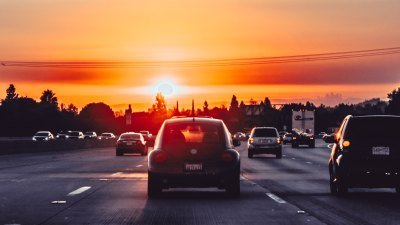 The sun shines on California commuter traffic