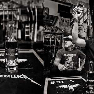 (Left) Bottle of Blackened American Whiskey, a collaboration between metal masters Metallica and late master distiller Dave Pickerell. (Right) Metallica drummer Lars Ulrich signals for a Blackened encore.