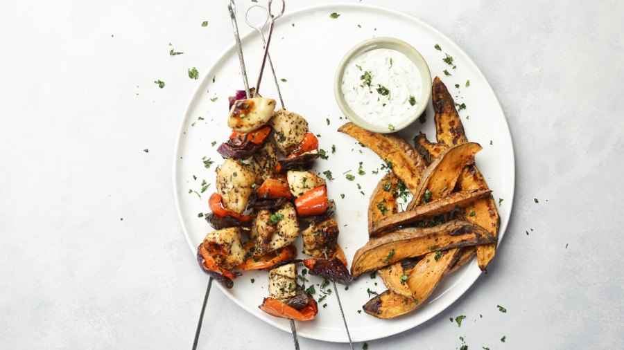 Chicken Skewers with Sweet Potato Fries and Tzatziki Dipping Sauce