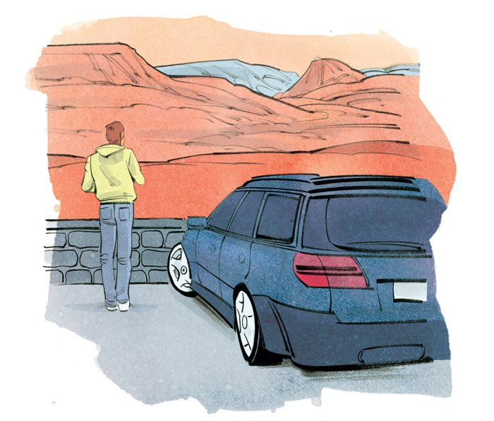 Illustration of man on road trip