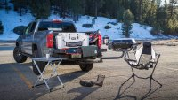 Tailgate essentials set up at the back of Chevy's 2021 Colorado ZR2 Bison Off-Road Collab With American EXxpedition Vehicles (AEV)