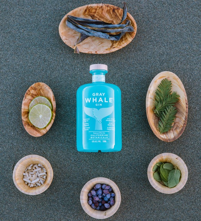 The six botanicals of Gray Whale Gin.