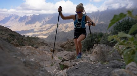 Meredith Edwards running along challenging trail of Oman by UTMB