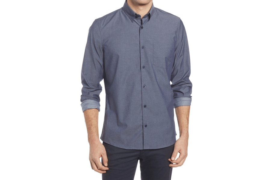 Trim Fit Non-Iron Stretch Chambray Button-Up Shirt