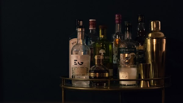 Bar cart of liquor