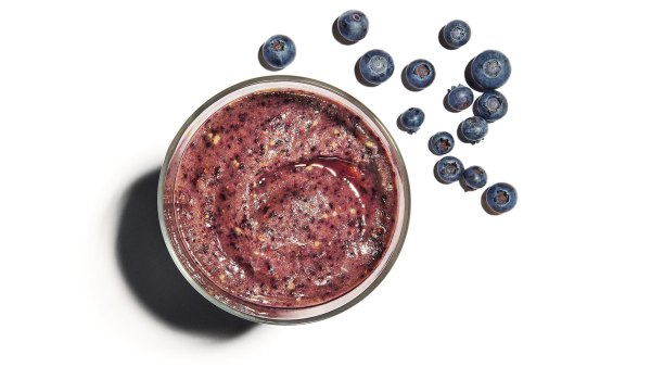 Homemade smoothie with blueberries