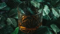 Glass of whiskey against leaves