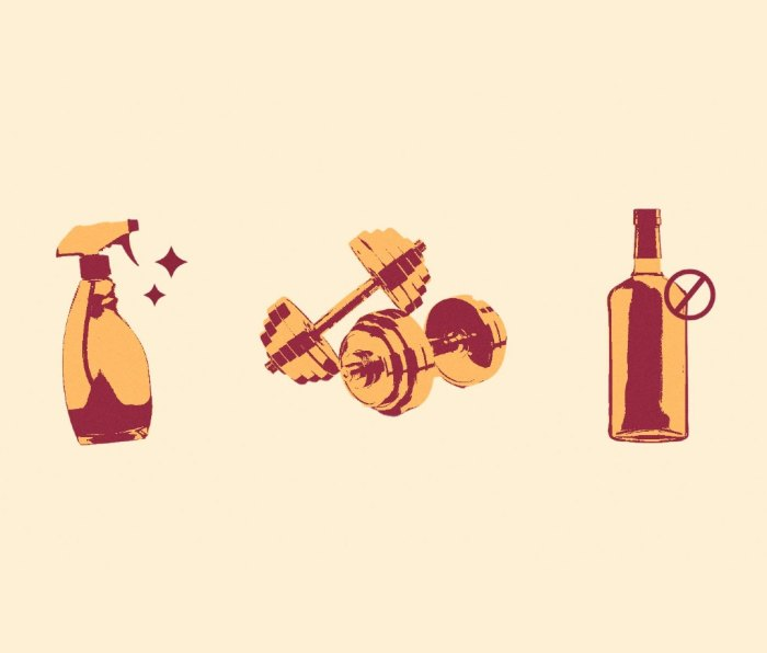 Illustration of disinfectant bottle, pair of dumbbells, and depiction of abstaining from alcohol