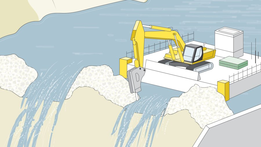 Excavator breaching upstream cofferdam, digging a series of notches down to the bedrock to prevent flooding.