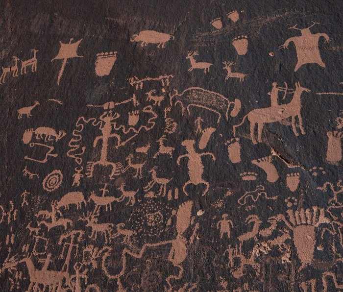 Cave paintings at Newspaper Rock.