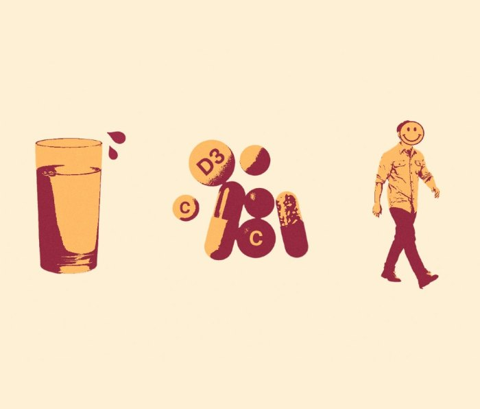 Illustration of a glass of water, multivitamins, and man getting exercise