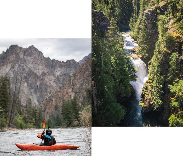 Left: Chris Korbulic kayaking. Right: Overhead shot of Unnamed 45-foot waterfall at Agnes Creek just off the Pacific Crest Trail