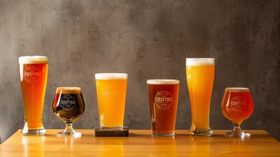 Variety of craft beers in different-shaped glasses.