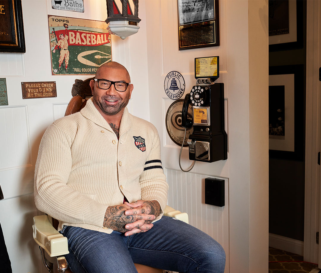 Dave Bautista at home with antique finds