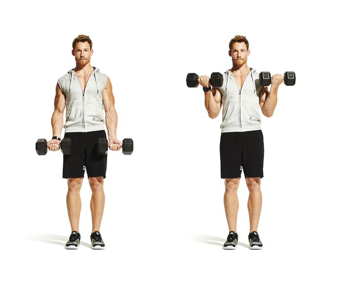 Man in athletic apparel doing dumbbell biceps curl