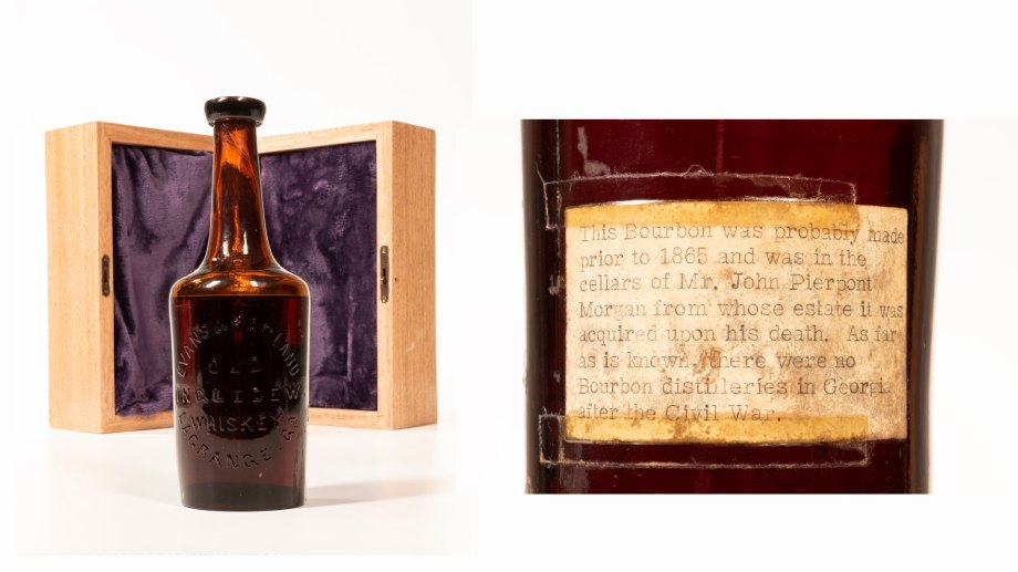 Closeup of Old Ingledew Whiskey bottle with note on the back
