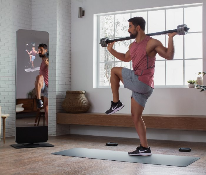 The Proform fitness mirror with barbell is great choice for building up your home gym.
