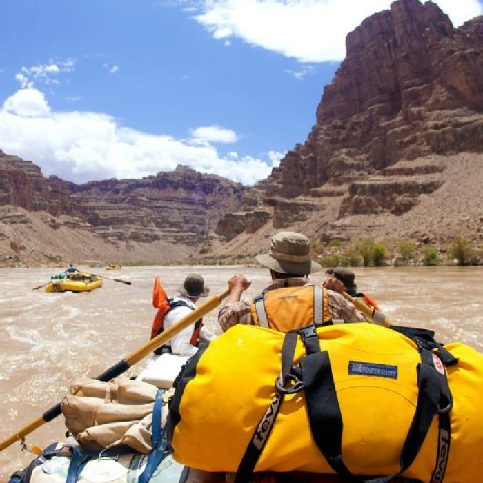OARS Whitewater rafting rowing clinic along Colorado River.