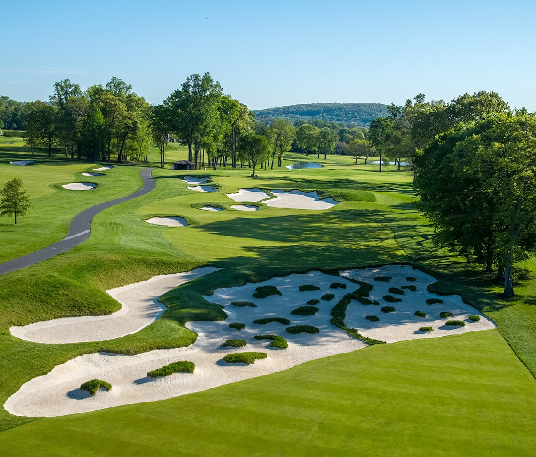 A view of the restored Sahara bunker on the Baltusrol Golf Club's Lower Course