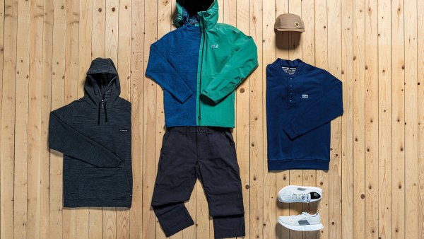 Flat lay of sustainable outdoor apparel