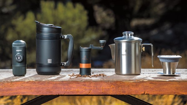 Lineup of backcountry coffee and espresso makers.