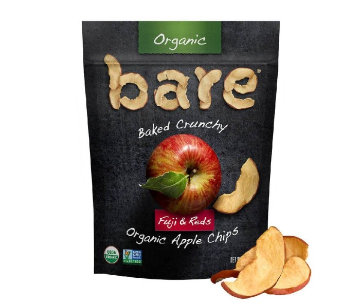 A bag with Bare Snacks Fuji & Reds Apple Chips.