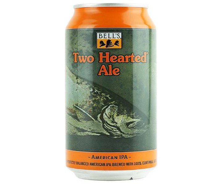 A orange and green can of Bell's Brewery Two Hearted Ale.