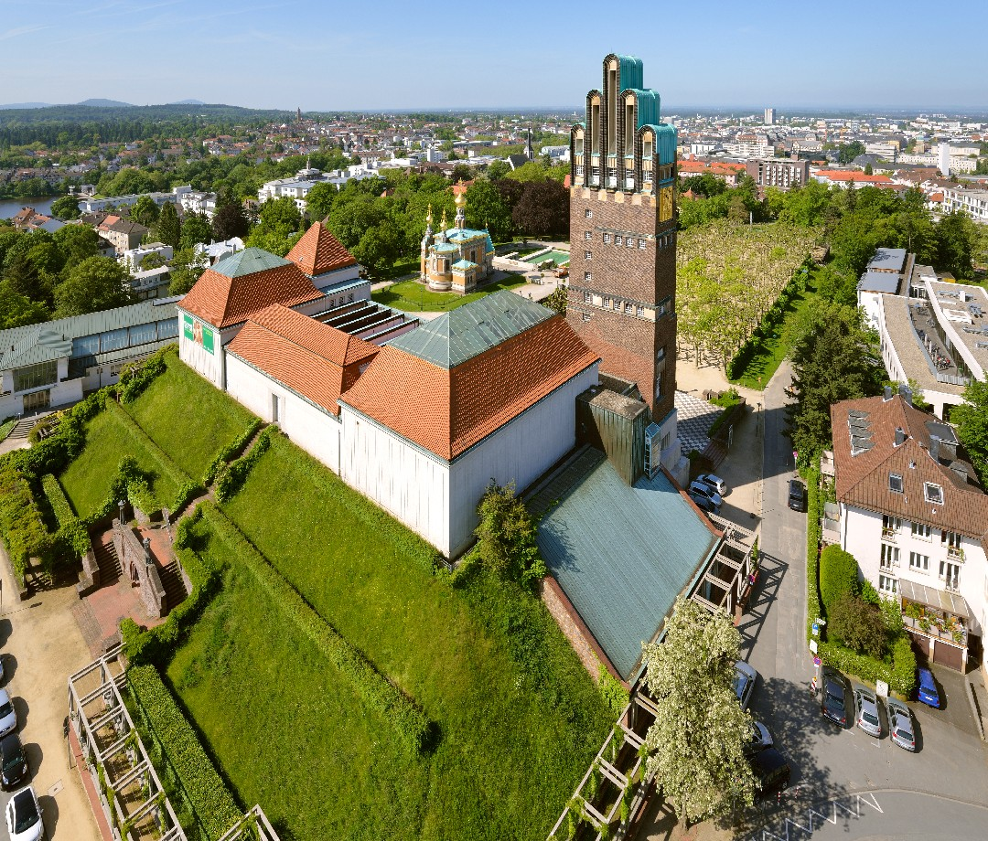 An aerial view of the distinctive architecture and landscaping of Darmstadt.