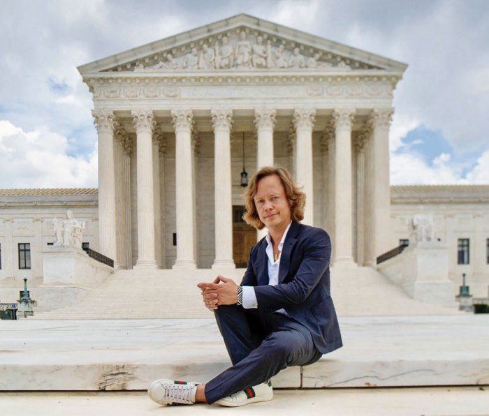 """Former child actor Brock Pierce, the crypto guru who helped create the """"stablecoin"""" that became Tether, seen here modeling kicks on the U.S. Supreme Court steps."""