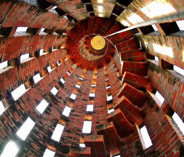 A view from inside of the bell tower in Uruguay's Church of Atlandida.