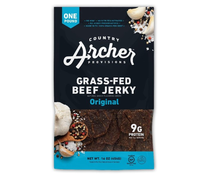 A bag of Country Archer Grass-Fed Beef Jerky.