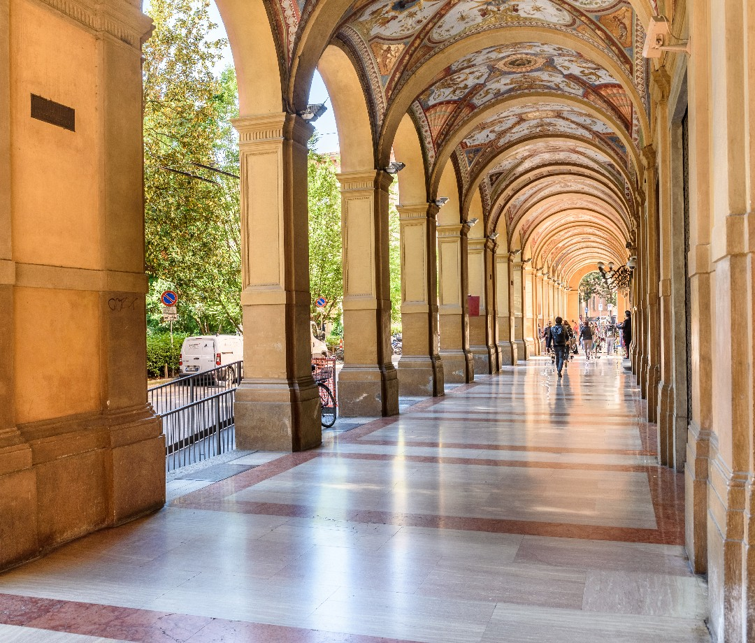 A row of porticoes in Bologna, Italy.