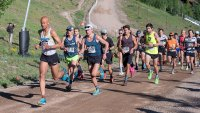 Joe Gray leads from the starting line of the Adidas Terrex 10K Spring Runoff at the GoPro Mountain Games