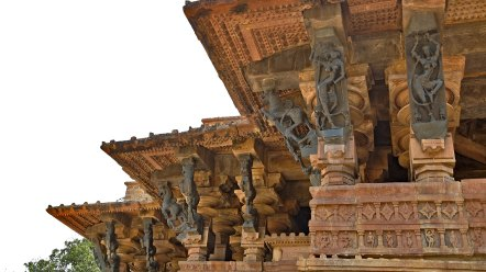 A detailed section of the Ramappa temple in India.
