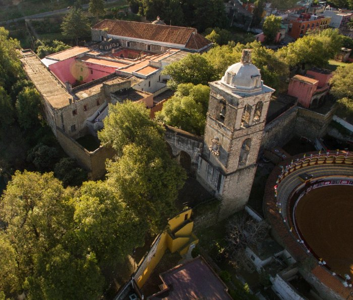 An aerial view of Mexico's Franciscan Ensemble of the Monastery and Cathedral of Our Lady of the Assumption of Tlaxcala.
