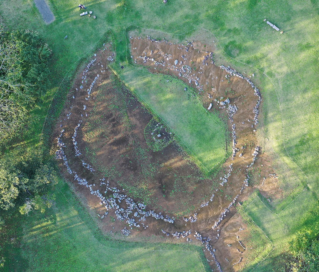 A circular ruin from a site belonging to the Jomon people of Japan.